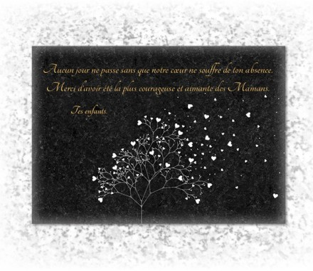 modele de plaque funeraire inalt rable avec photo d 39 arbre et coeur style granit. Black Bedroom Furniture Sets. Home Design Ideas