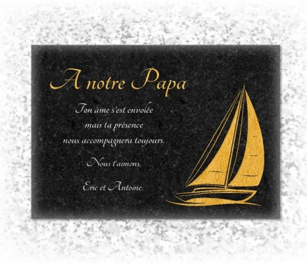 modele de plaque funeraire inalt rable avec photo de bateau dor style granit. Black Bedroom Furniture Sets. Home Design Ideas