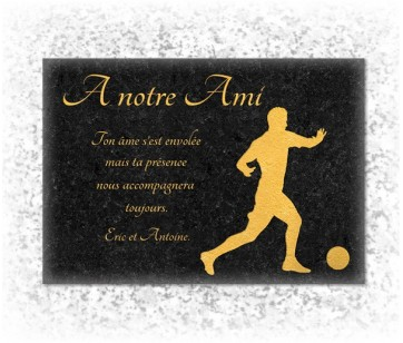 Plaque funeraire Football Doré Granit