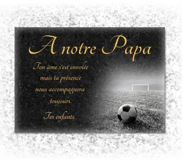 Plaque funeraire Football Granit