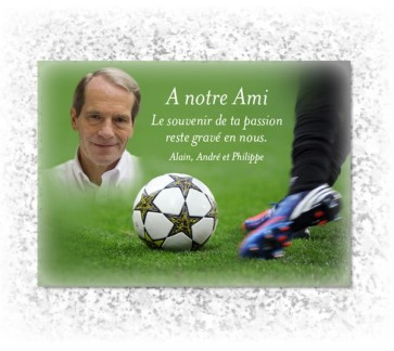 Plaque funeraire Ballon de Football
