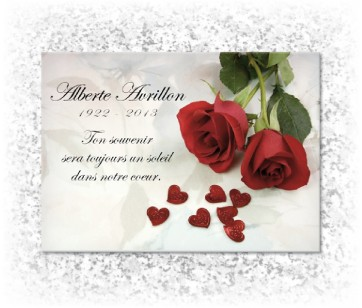 Plaque funeraire Roses Rouges