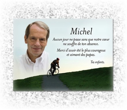 plaque fun raire plexiglas avec photo couleur sur la passion cyclisme. Black Bedroom Furniture Sets. Home Design Ideas